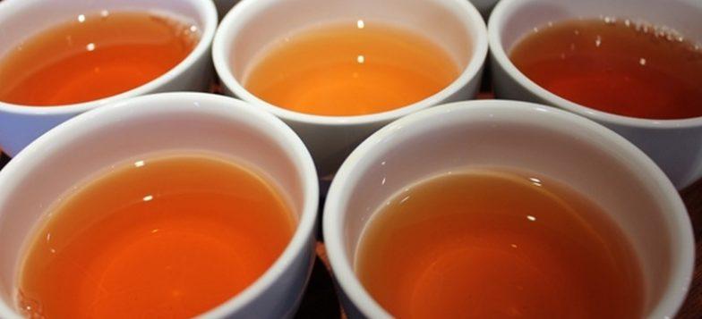 Viisi kuppia teetä lähikuvassa.