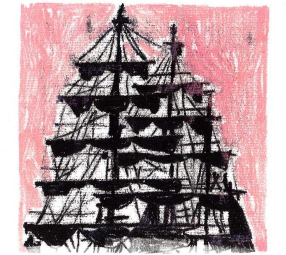 mustavalkoinen piirros isosta purjelaivasta vaaleanpunaisella taustalla