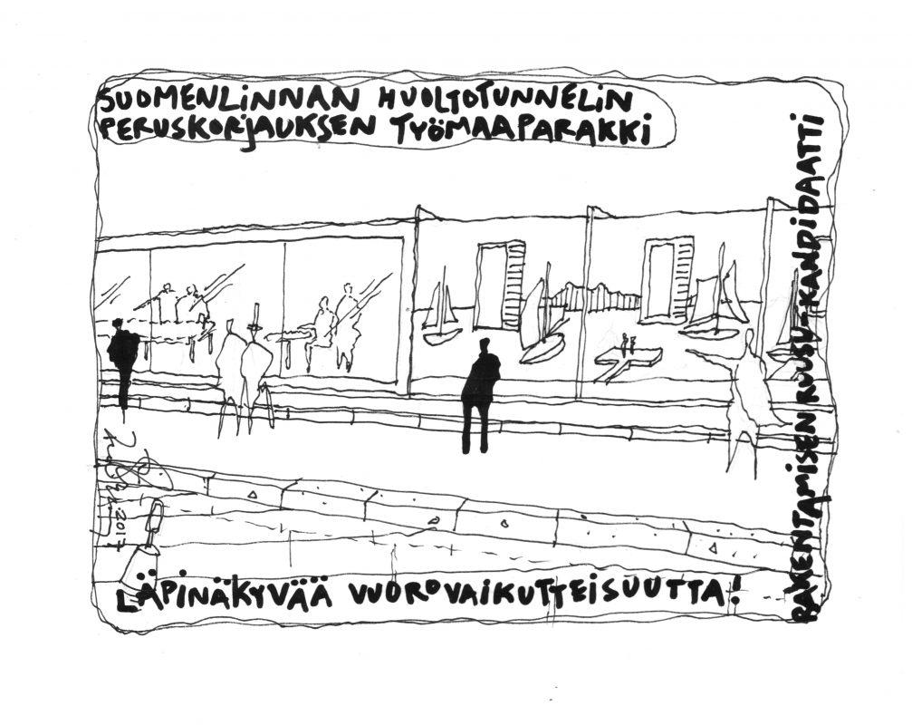 Kari Kuosman piirroskuva tunnelin työmaakopista
