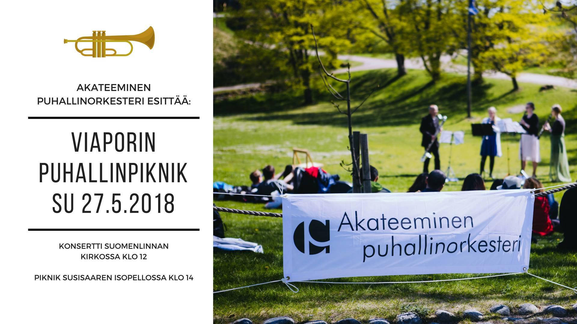 Mainos, jossa kuva ja tekstiä liittyen 27.5.2018 Akateemisen puhallinorkesterin konserttipäivään Suomenlinnassa
