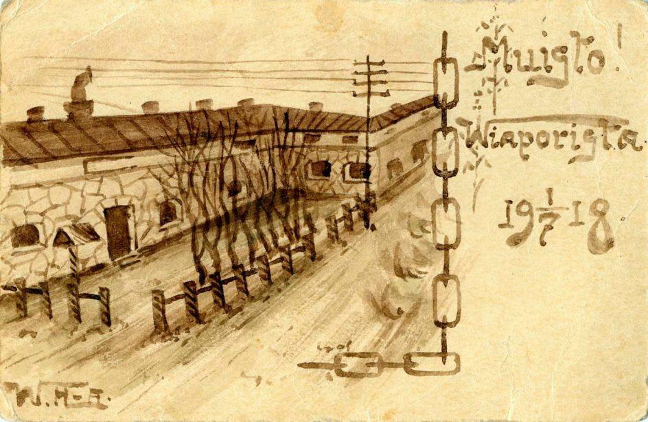 Vanha piirretty kuva, jossa näkyy muuria, teksti: Muisto Wiaporista