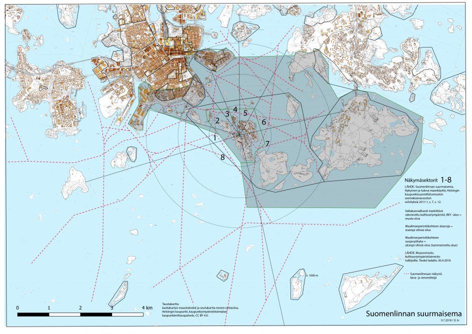 Kartta Suomenlinnan merialueesta, laivareitit merkattu punaisella viivalla.