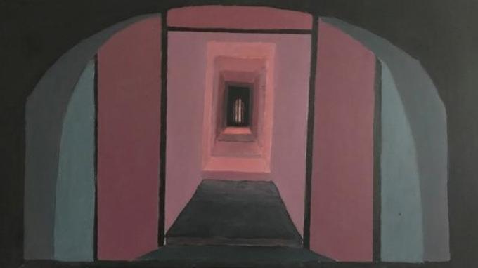 Punasvävyinen moderni maalaus holvista
