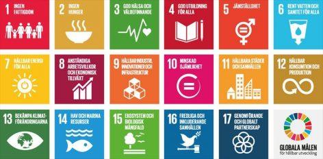 Kaaviossa esitetään kuvakkeina YK:n seitsemäntoista kestävän kehityksen tavoitetta ruotsiksi