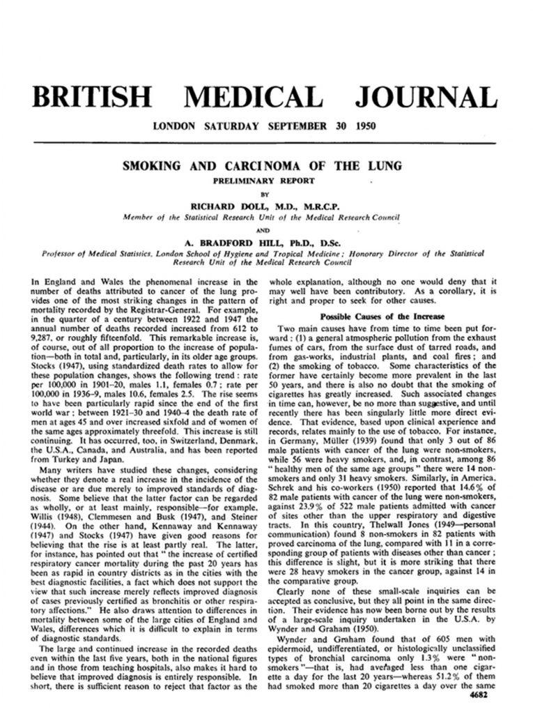 British Medical Journal syöpäartikkeli vuodelta 1950