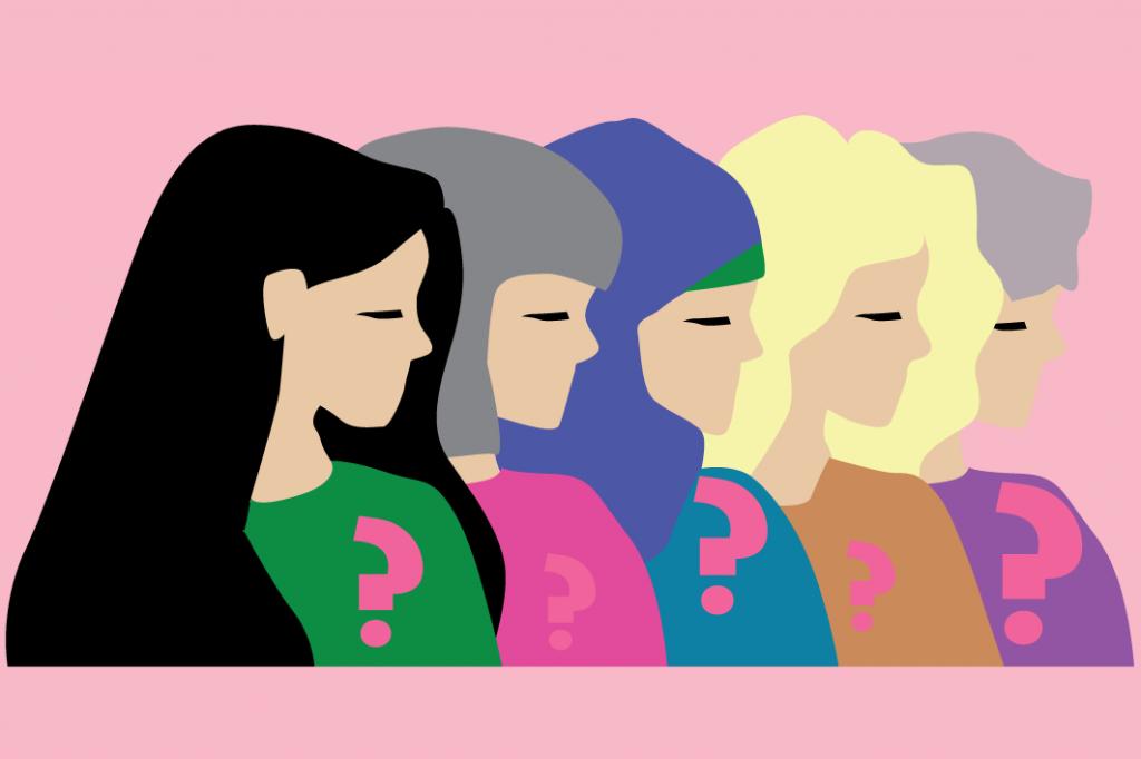 Eri-ikäisiä naisten kasvoja. Piirretty kuva.